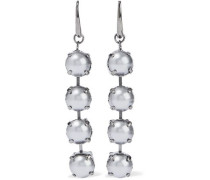 Gunmetal-tone faux pearl earrings