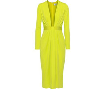 Draped Neon Stretch-jersey Dress Lime Green