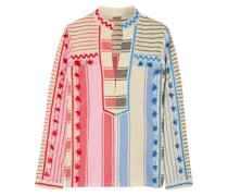 Tasseled Striped Cotton-gauze Top Multicolor