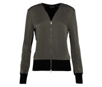Vivienne Crepe De Chine And Stretch-knit Jacket Army Green