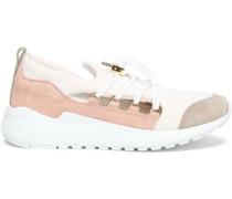 Color-block Neoprene And Suede-paneled Sneakers Cream