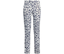 Printed silk crepe de chine slim-leg pants
