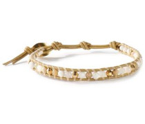 18-karat gold-plated, leather and stone bracelet