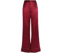 Lamé-trimmed silk-satin wide-leg pants