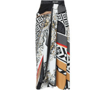 Printed Crepe De Chine Midi Skirt Black