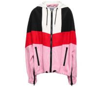 Color-block Satin-crepe Hooded Jacket Multicolor