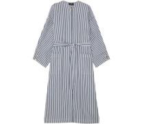 Mireya Tie-front Striped Cotton-poplin Midi Dress Navy Size ONESIZE