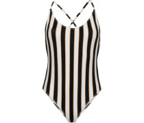 Open-back Striped Swimsuit Black