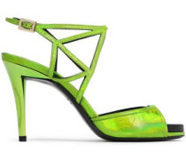 Cutout Metallic Leather Sandals Lime Green