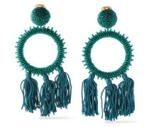 Gold-tone bead and tassel clip earrings