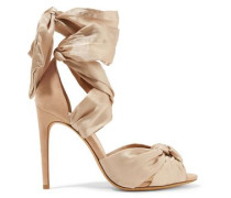 Katherine knotted silk-satin and suede sandals
