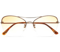 Butterfly-frame gold-tone and acetate sunglasses