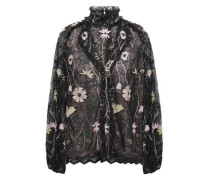 Ruffled Embroidered Lace Blouse Black