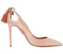 Forever Marilyn Cutout Tasseled Satin Pumps Pastel Pink