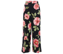 Cropped Floral-print Silk And Linen-blend Wide-leg Pants Black Size 0
