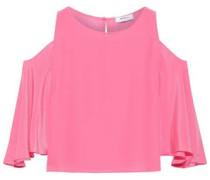 Cold-shoulder Silk Top Pink