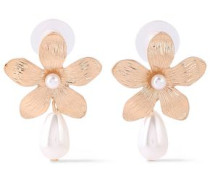 Gold-plated Faux Pearl Earrings Rose Gold Size --