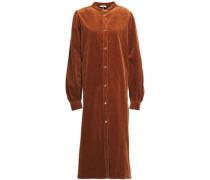 Woman Cotton-blend Corduroy Midi Dress Brown