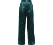 Silk-satin Jacquard Wide-leg Pants Petrol