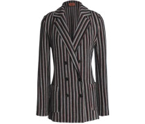 Double-breasted jacquard-knit wool-blend blazer