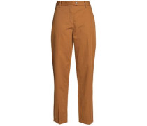 Cotton And Linen-blend Twill Tapered Pants Camel