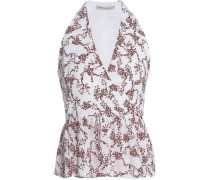 Lucie Floral-print Crepe Peplum Wrap Top White