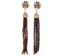 Tasseled gold-tone crystal and bead earrings