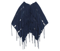 Cutout Fringed Linen-blend Hooded Poncho Navy