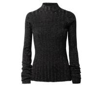 Metallic Merino Wool Turtleneck Sweater Black