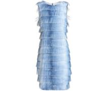 Fringed Dégradé Woven Mini Dress Blue Size 0