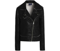 Coated French cotton-terry biker jacket