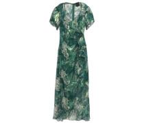 Wrap-effect Metallic Fil Coupé Silk-blend Midi Dress Forest Green