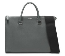 Textured-leather Tote Grey Green Size --
