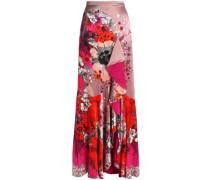 Ruffled floral-print silk-satin maxi skirt