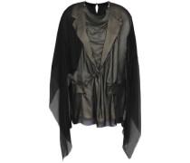 Paneled Satin-crepe And Silk-georgette Blouse Black
