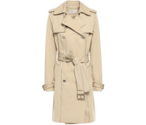 Double-breasted Cotton-blend Sateen Trench Coat Beige