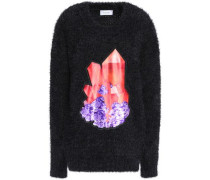 Printed-paneled knitted sweater
