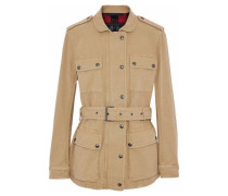 Belted cotton-blend canvas jacket