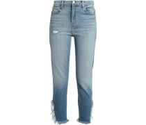 Ruby distressed high-rise slim-leg jeans