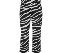 Cropped zebra-print linen flared pants