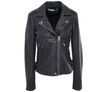 Han Metallic Textured-leather Biker Jacket Storm Blue