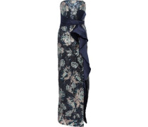 Strapless Bow-embellished Sequined Crepe Gown Navy