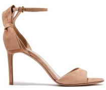 Bow-embellished Suede Sandals Blush