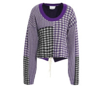 Woman Lace-up Patchwork-effect Jacquard-knit Sweater Violet