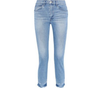Faded High-rise Straight-leg Jeans Light Denim  6