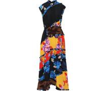 Ruffle-trimmed Patchwork Floral-print Crepe De Chine Maxi Dress Multicolor