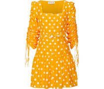 Belted Ruched Polka-dot Cotton And Silk-blend Mini Dress