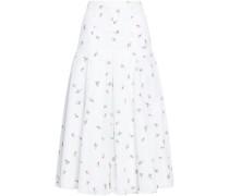 Merica Pleated Floral-print Cloqué Midi Skirt White Size 16