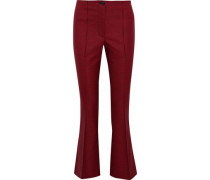 Houndstooth Wool-blend Kick-flared Pants Crimson