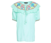 Embroidered Cotton-gauze Top Mint